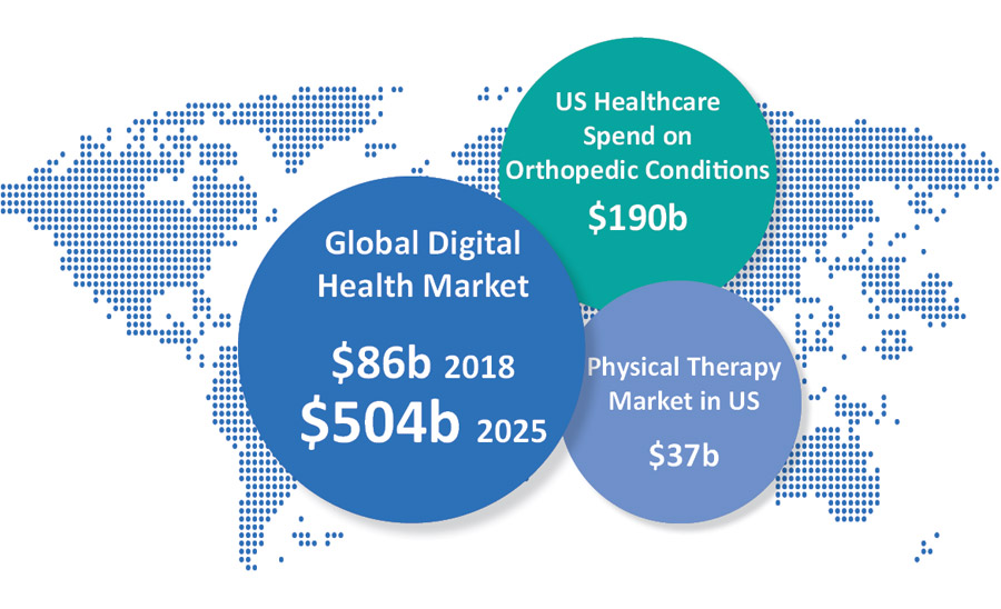 Market Opportunity: Global Health Market: $86b 2018; 504b 2025. US Healthcare Spend on Orthopedic COnditions: $190b. Physical Therapy in US: $37b